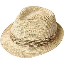 0ac0f2cdc Packable Straw Fedora Panama Sun Summer Beach Hat Cuban Trilby Men Women  55-61cm