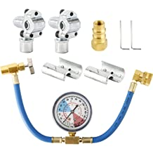 Piercing and Self-Sealing Can Tap Bullet Piercing Valve Lichamp A//C R134A Refrigerator Freon Recharge Hose Kit with Gauge