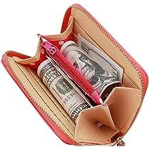 Key Case,Ange Bety Genuine Leather Zipper Double Zipper Case Car Key Wallet For