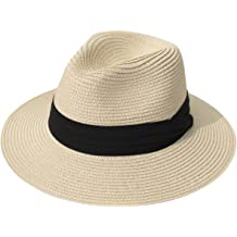 f88903b3 Lanzom Women Wide Brim Straw Panama Roll up Hat Fedora Beach Sun Hat UPF50+