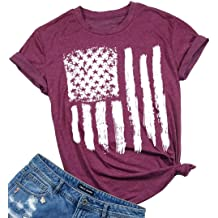 Women American Flag Tee Shirts Vintage Short Sleeve T Shirt July 4th Tunic Blouse Top Casual Summer Patriotic O-Neck Womens T-Shirts