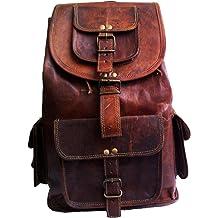 "278e58c31 jaald 16"" Genuine Leather Retro Rucksack Backpack College Bag,School  Picnic Bag Travel"