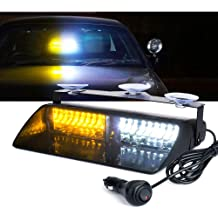 Auxbeam LED Law Enforcement Emergency Hazard Warning Strobe Lights for Interior Roof//Dash//Windshield with Suction Cups Red+Blue