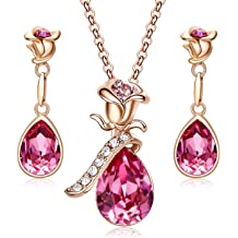 3b5d6d642 CDE Mothers Day Jewelry Gift Rose Gold Plated Necklace Earring Bracelet Jewelry  Set Embellished with Crystals