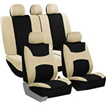 FH Group FB055114 Black Butterfly Embroidery Car Seat Cover Full Set