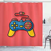 84 Inches Extra Long Fabric Bathroom Decor Set with Hooks Multicolor Modern Console Game Comtroller with Halftone Motif and Color Splashes Background Lunarable Gamer Shower Curtain by