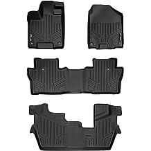 SMARTLINER Custom Fit Floor Mats 3 Row Liner Set Black for 2009-2015 Honda Pilot