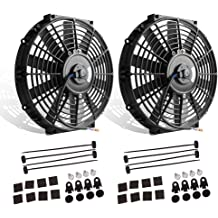 Upgr8 Universal High Performance 12V Slim Electric Cooling Radiator Fan With Fan Mounting Kit 7 Inch, Black