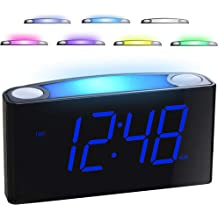 Large Numbers Simple Setup Good View Angles Two Backlight Choices 12//24 Hour Cool Gray Battery Alarm Clocks for Bedrooms