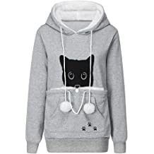 Moudozsdi Women Button Patchwork Hooded Coat Pullover Tops Loose Sweater Blouse Plus Size