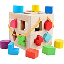 Blue /& Yellow Re-buildable Baby Play Cube with 18 Sorting Blocks and Teething Rattle Mimtom Shape Sorter Toy Red Learning Toy Made in The EU