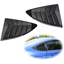 iJDMTOY Left//Right Glossy Finish Racing Style Rear Side Window Scoop Air Vent//Louver Shades For 2015-up Gen6 Ford Mustang