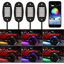 RangerRider Car App RGB LED Rock Lights,4 Pcs Pods Multicolor Neon LED Light Kit with Bluetooth Controller for Underglow Off Road Truck SUV