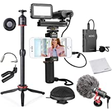 Note YouTube Equipment Compatible with iPhone Shotgun Microphone LED Light and Wireless Remote Grip Movo Smartphone Video Kit V1+ Vlogging Kit with Tripod Vlogging Gear Android Samsung Galaxy