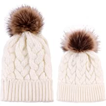 2PCS Parent-Child Hat Warmer Mother/&Daughter//Son Winter Knit Hat Beanie Ski Cap