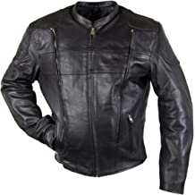 4X-Large Xelement BXU1006 Jax Mens Black Leather Motorcycle Hoodie Jacket with Convertible Vest