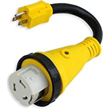 125V//1875W MICTUNING 18 15 Amp Male to 50 Amp Female Heavy Duty RV Dogbone Electrical Adapter with Handle