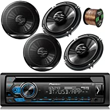 Pioneer DEHX Car CD MP3 Stereo Player with Bluetooth AM//FM Radio Bundle 2 x 6x9 inch 2 eakers Car Stereo Kit 50 ft 18g Speaker Wire 400 Watt Car Audio Amp Compx 6.5 inch Speakers