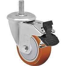 Schioppa GLA 512 UPE SL L12 Series 5 x 1-1//4 Diameter Swivel Caster with Wheel Lock Brake Bolt Holes 3 x 1-3//4 Plate 3-3//4 x 2-1//2 Non-Marking Polyurethane Precision Ball Bearing Wheel 325 lb