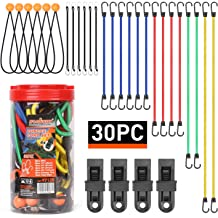 ENKERN 36 Pack Bungee Cords with Hooks in Assorted Sizes Rubber Bungee Straps Mini Bungee Cords with Balls Cargo Net and Carrying Case Tarp Clips