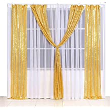 Poise3EHome 2ft x 8ft Sequin Photography Backdrop Curtain 2 Panels for Party Decoration Black