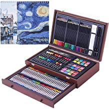 142 Piece Deluxe Wood Case Artist Set Kids Pastels Drawing Painting Sketch Art