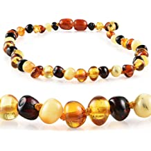 Aquamarine and Amethyst Size 12.5 /& 5.5 Inches Kids 32 /& 14 cm Baltic Amber Natural Necklace and Bracelet Made with Polished Cognac Polished Cognac//Aquamarine//Amethyst AmberSky