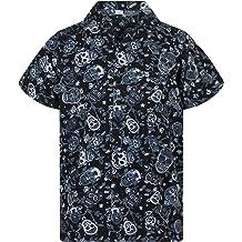 Funky Hawaiian Shirt Men Short-Sleeve Front-Pocket Pool Rainforest Frogs Black
