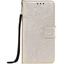 Lomogo Leather Wallet Case for Galaxy S8 with Stand Feature Card Holder Magnetic Closure LOHHA130348 Gold Shockproof Flip Case Cover for Samsung Galaxy S8