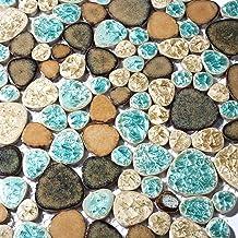 Glazed Blue Mosaic Ceramic Pebble Porcelain Tile Swimming Pool Bath Shower Wall Flooring Tile TSTGPT001 4 x 6 Inches Sample